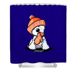 Orange Winter Westie Shower Curtain