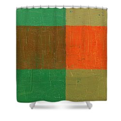 Orange With Brown And Teal Shower Curtain by Michelle Calkins