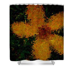 Orange-yellow Flower Shower Curtain by April Patterson