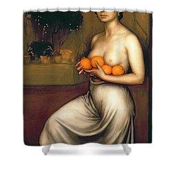 Oranges And Lemons Shower Curtain by Julio Romero de Torres