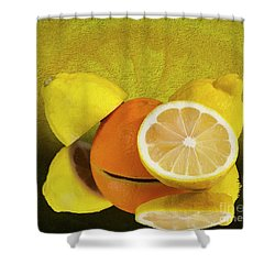 Oranges And Lemons Shower Curtain by Shirley Mangini