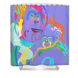 Orangutan Mom And Baby Shower Curtain