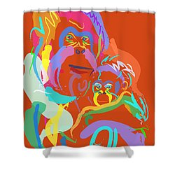 Orangutan Mom And Baby Shower Curtain by Go Van Kampen