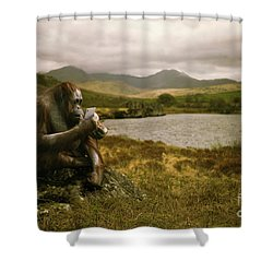 Orangutan With Smart Phone Shower Curtain