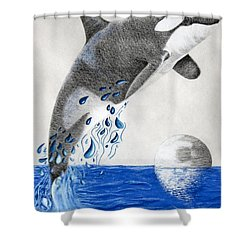 Shower Curtain featuring the drawing Orca by Mayhem Mediums