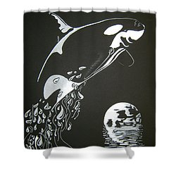 Orca Sillhouette Shower Curtain