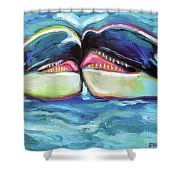 Orca Valentine Shower Curtain by Robert Phelps