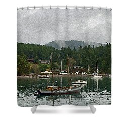 Orcas Island Digital Enhancement Shower Curtain