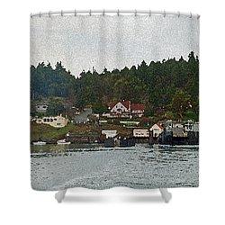 Orcas Island Dock Digital Shower Curtain