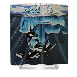 Orcas Versus Glacier Shower Curtain