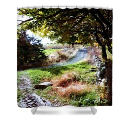 Shower Curtain featuring the painting Orchard Country Roads by Janine Riley