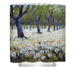 Orchard With Dandelions Shower Curtain by Irek Szelag