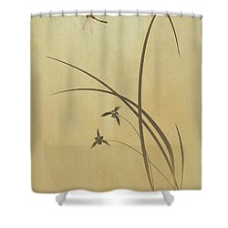 Orchid And Dragonfly Shower Curtain