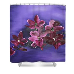 Orchid Blossoms On A Stem Shower Curtain