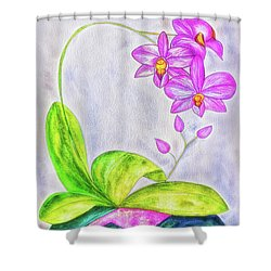 Orchid Watercolor Painting Shower Curtain