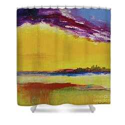 Shower Curtain featuring the painting Orchid Sky by Robin Maria Pedrero