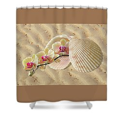 Orchids And Shells On The Beach Shower Curtain by Gill Billington