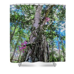 Orchids In A Tree Shower Curtain