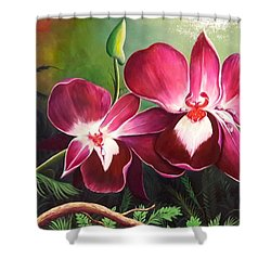Orchids In The Night Shower Curtain