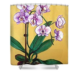 Shower Curtain featuring the painting Orchids by Laura Aceto