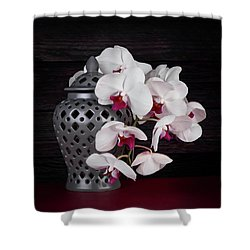 Orchids With Gray Ginger Jar Shower Curtain