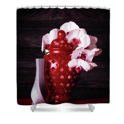 Orchids With Red And Gray Shower Curtain