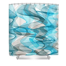 Orderly Blues And Grays Shower Curtain