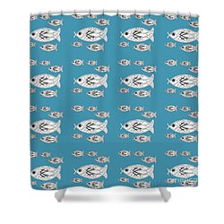 Orderly Formation - School Of Fish Shower Curtain