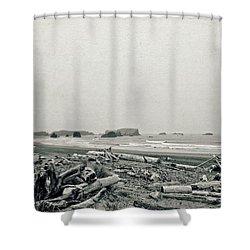 Oregon Beach With Driftwood Shower Curtain