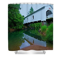 Oregon Covered Bridge Shower Curtain by Sean Sarsfield