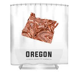 Oregon Map Art Abstract In Brown Shower Curtain