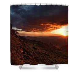 Shower Curtain featuring the photograph Oregon Mountains Sunrise by Leland D Howard