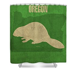 Oregon State Facts Minimalist Movie Poster Art Shower Curtain