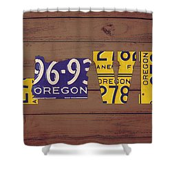 Oregon State Love Heart License Plates Art Phrase Shower Curtain