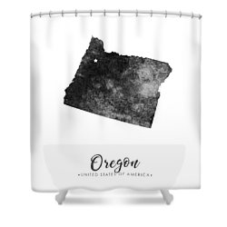 Oregon State Map Art - Grunge Silhouette Shower Curtain