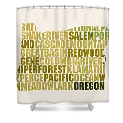 Oregon State Outline Word Map Shower Curtain
