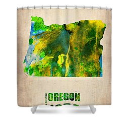 Oregon Watercolor Map Shower Curtain
