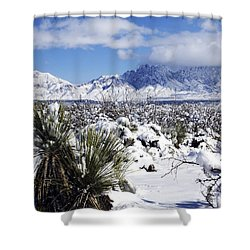 Shower Curtain featuring the photograph Winter's Blanket Organ Mountains by Kurt Van Wagner