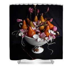 Organic Bosc Pears And Magnolia Blossoms Shower Curtain