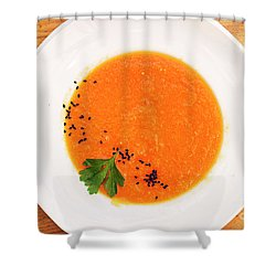 Organic Fresh Carrot And Pumpkin Soup With Sesame Seeds Shower Curtain