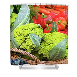 Organic Green Cauliflower At The Farmer's Market Shower Curtain