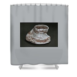 Organic Marbled Clay Ceramic Vessel Shower Curtain by Suzanne Gaff
