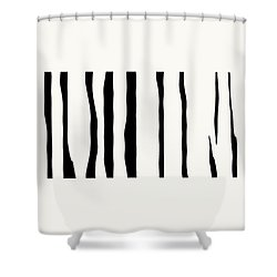 Organic No 12 Black And White Line Abstract Shower Curtain