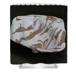 Organic Oval Marbled Ceramic Dish Shower Curtain by Suzanne Gaff