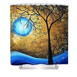 Orginal Abstract Landscape Painting Blue Fire By Madart Shower Curtain by Megan Duncanson
