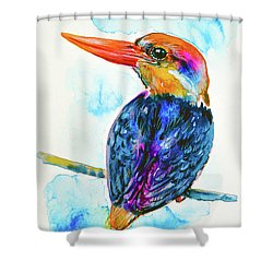 Shower Curtain featuring the painting Oriental Dwarf Kingfisher by Zaira Dzhaubaeva