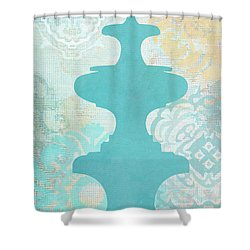 Oriental Far East Design Blue Shower Curtain