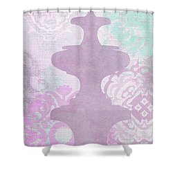 Oriental Far East Design Purple Shower Curtain