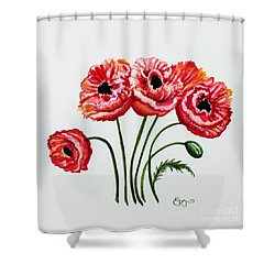 Oriental Poppies Shower Curtain by Elizabeth Robinette Tyndall