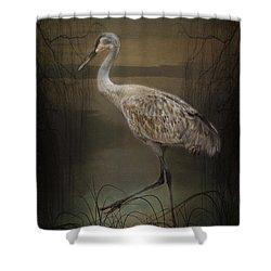 Oriental Sandhill Crane Shower Curtain